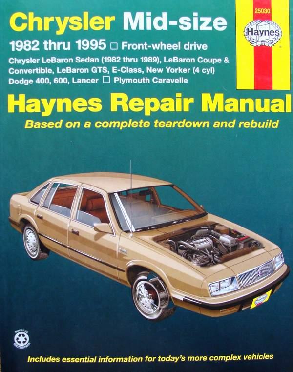 Haynes Repair Manual Chrysler Midsize 1982 Thru 1995rhbooksoncollectableseu: 1990 Chrysler Lebaron Convertible Wiring Diagram At Gmaili.net