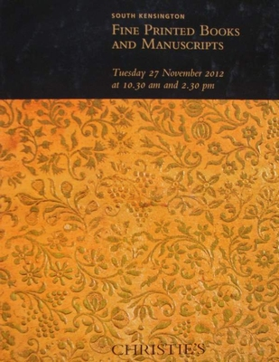 Auction Catalog : Fine Printed Books and Manuscripts